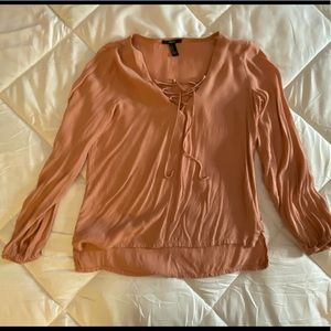 Coral lace up blouse